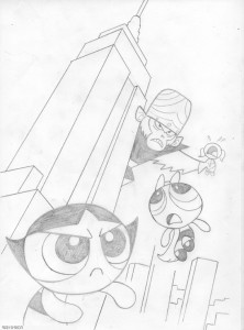 king_jojo_and_the_powerpuff_girls__by_bill forster_Comic Book Art Sketch